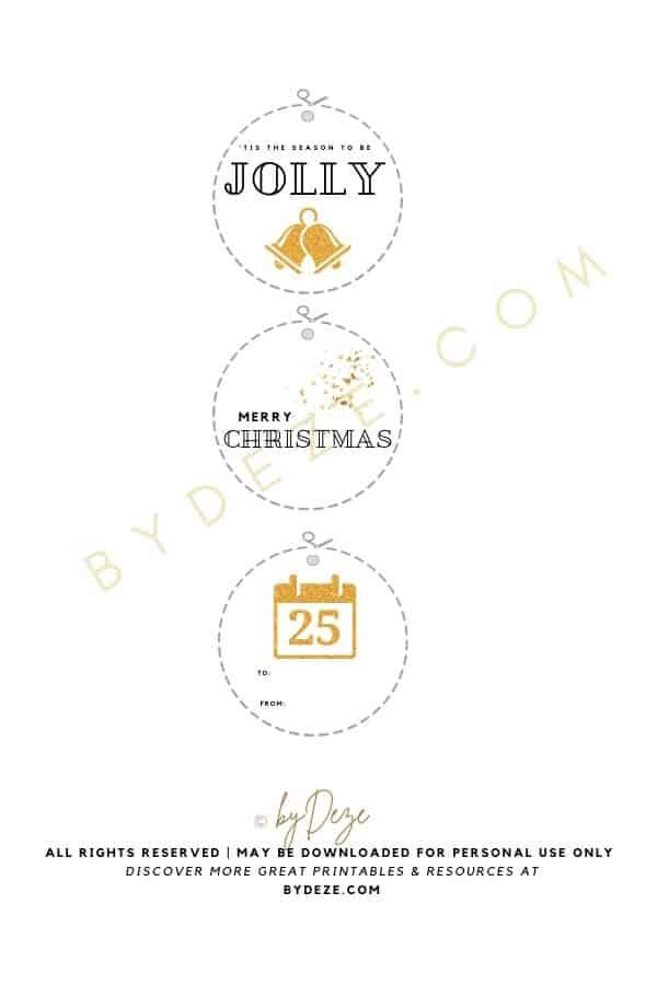 GLITTER gold printable christmas gift tags