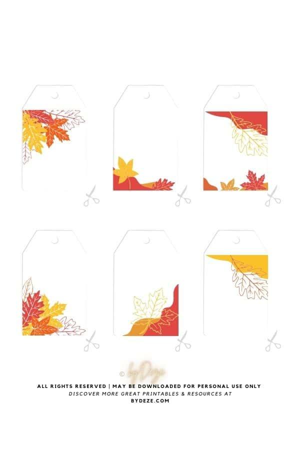 autumn leaf themed blank gift tags