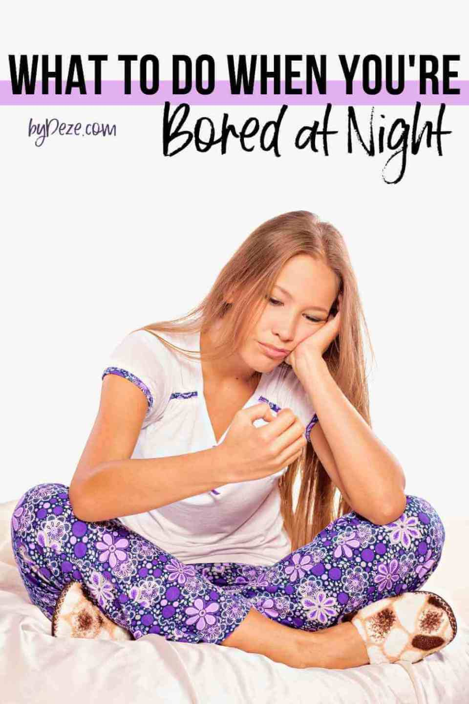 things to do when bored at night - girls with pajamas on in bed looking bored.