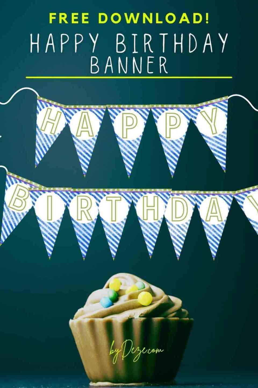 Blue stripe triangle birthday banner