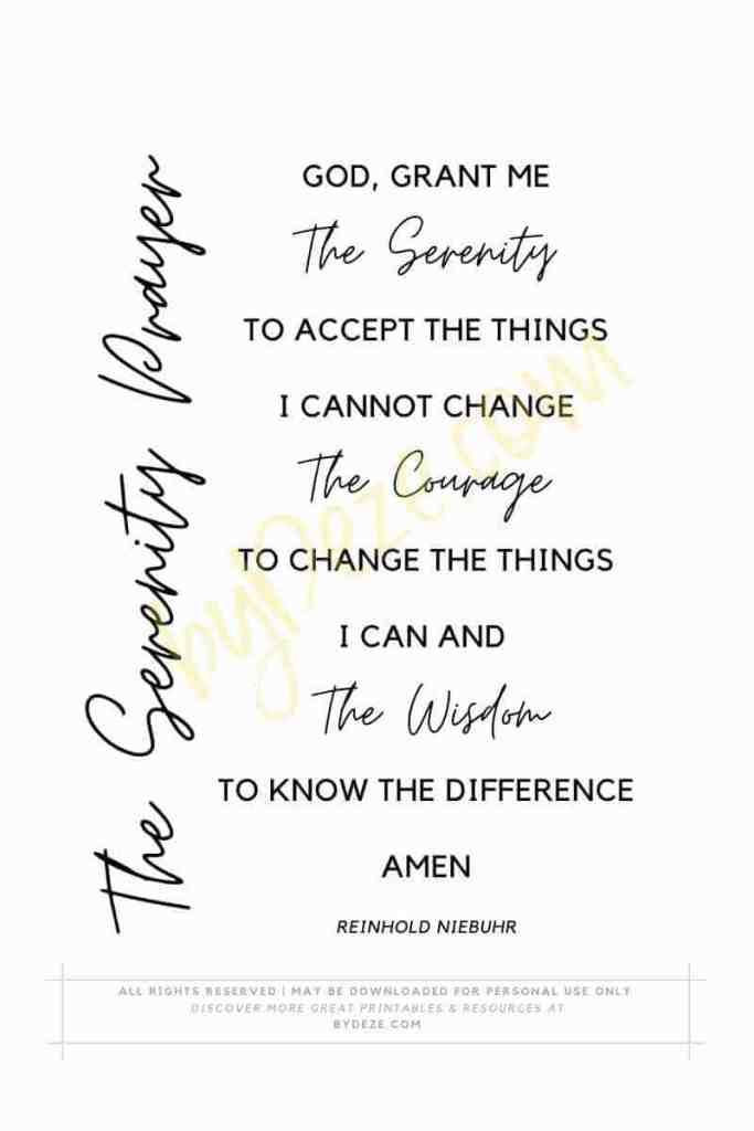 printable serenity prayer short version