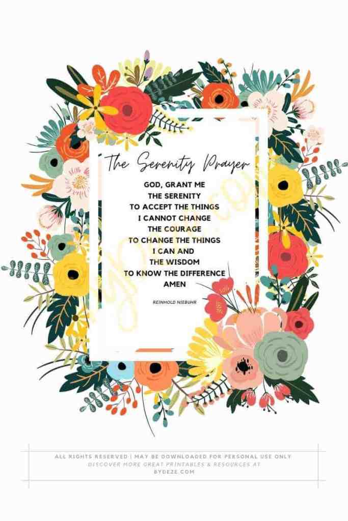 floral serenity prayer PDF printable