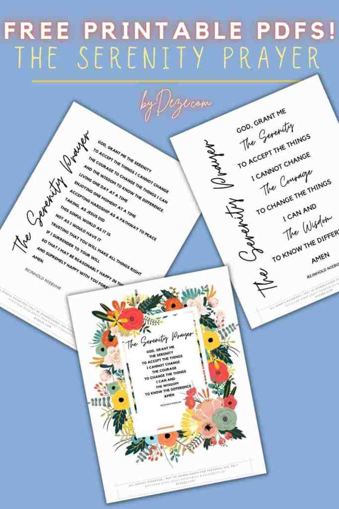 free printable PDFs of the serenity prayer