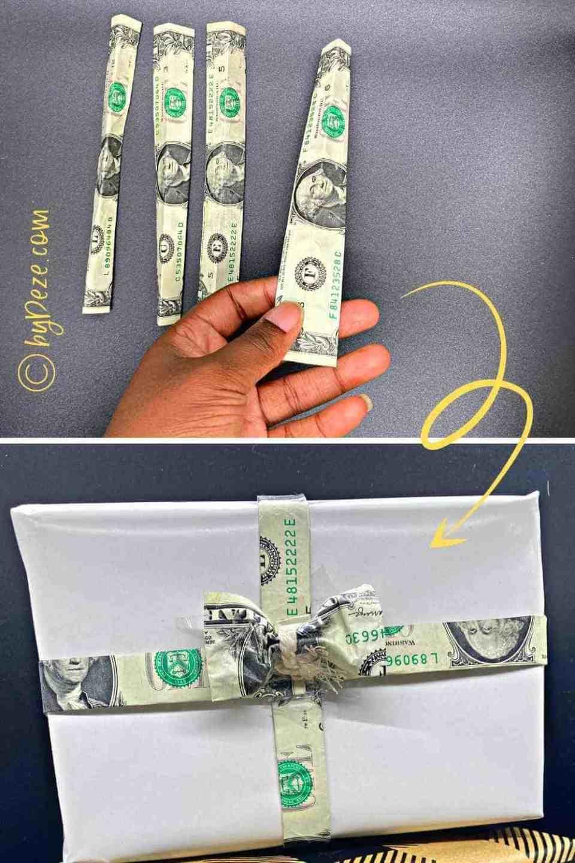 turn dollar bills into money gift bow