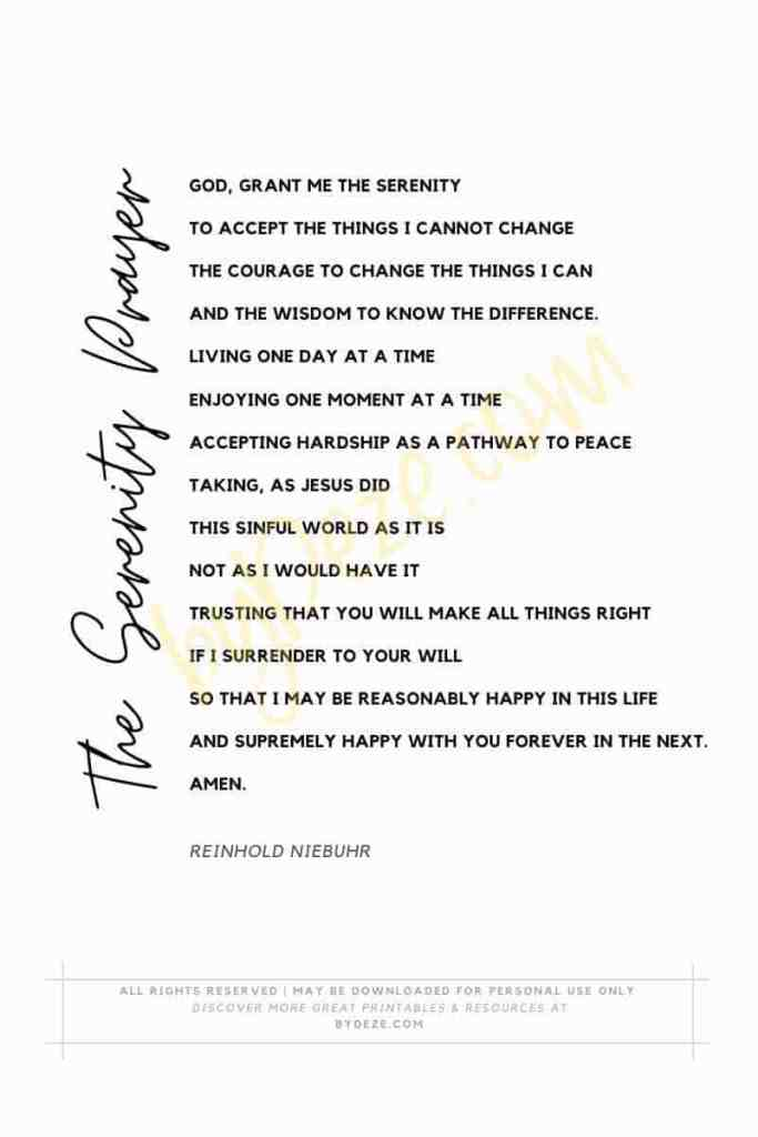 the full serenity prayer printable from byDeze.com