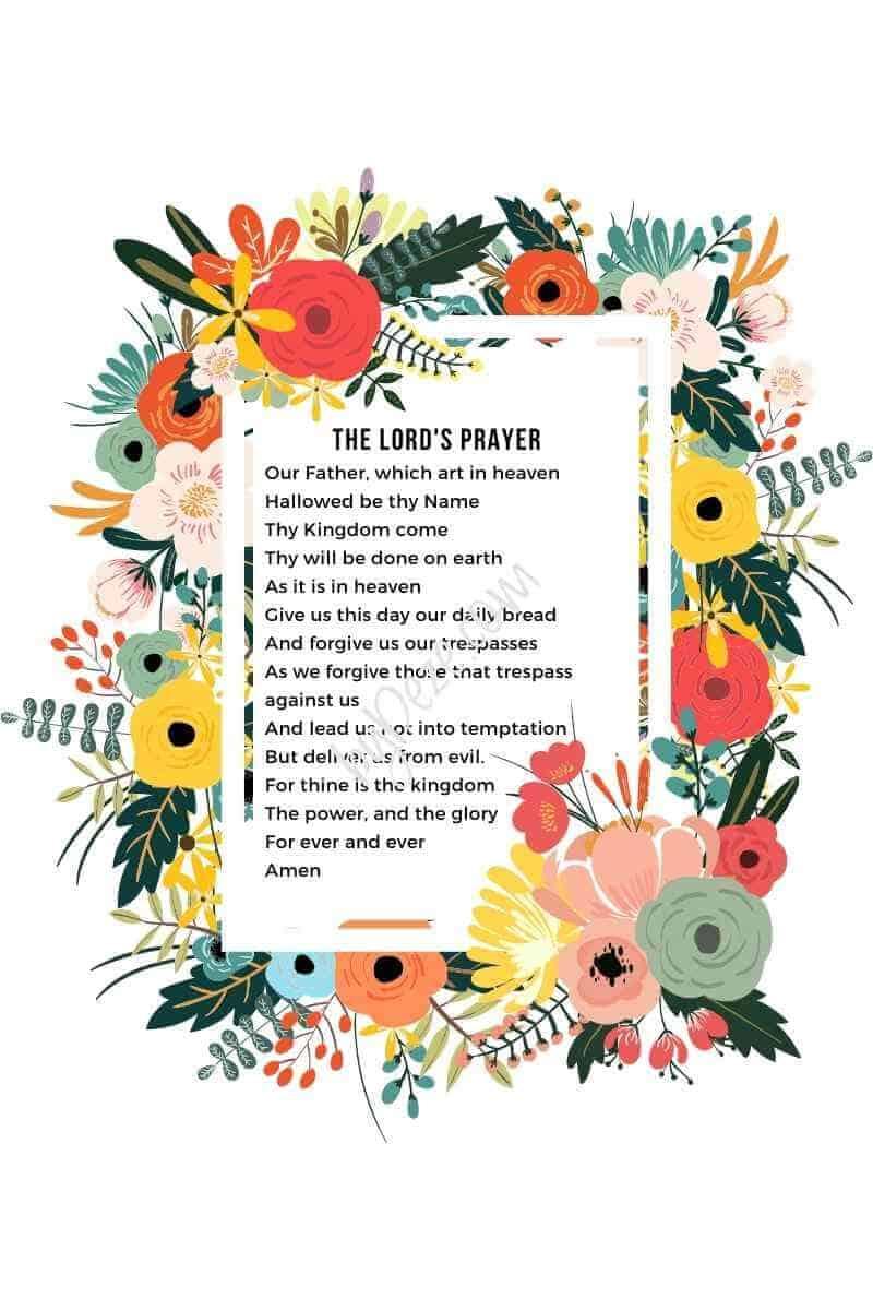 floral lords prayer PDF print
