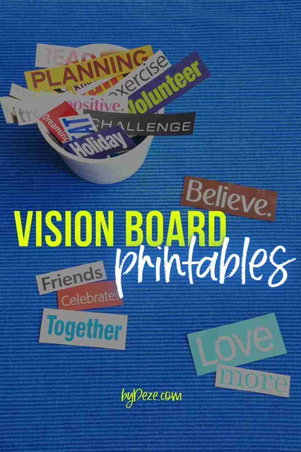 vision board printables quotes and words