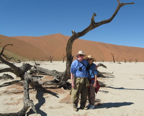 Roger and Marilyn Berg in the Namib Desert, Namibia