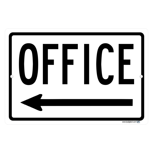Office Sign With Left Pointing Arrow - aluminum sign