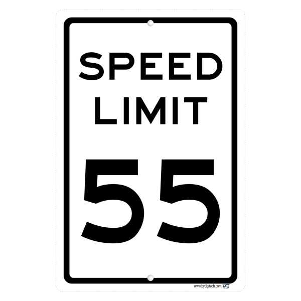 Speed Limit 55 MPH Sign - aluminum sign