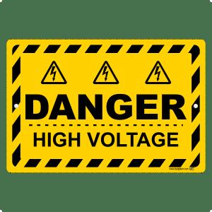 Danger High Voltage Yellow Sign Aluminum Sign