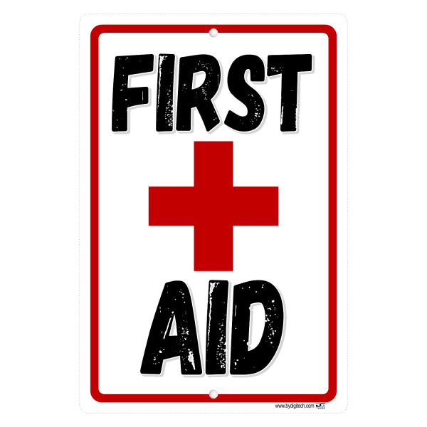 First Aid Red Cross Symbol Aluminum Sign