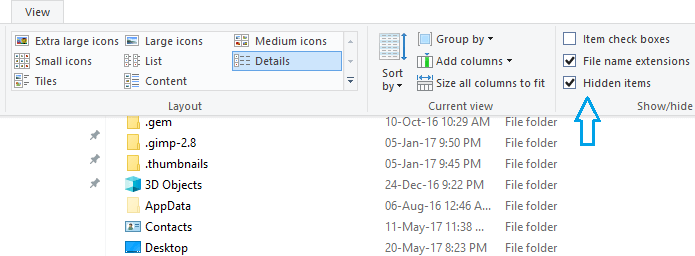 Visible hidden items Windows 10