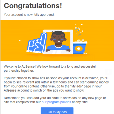 AdSense Application Approved Email