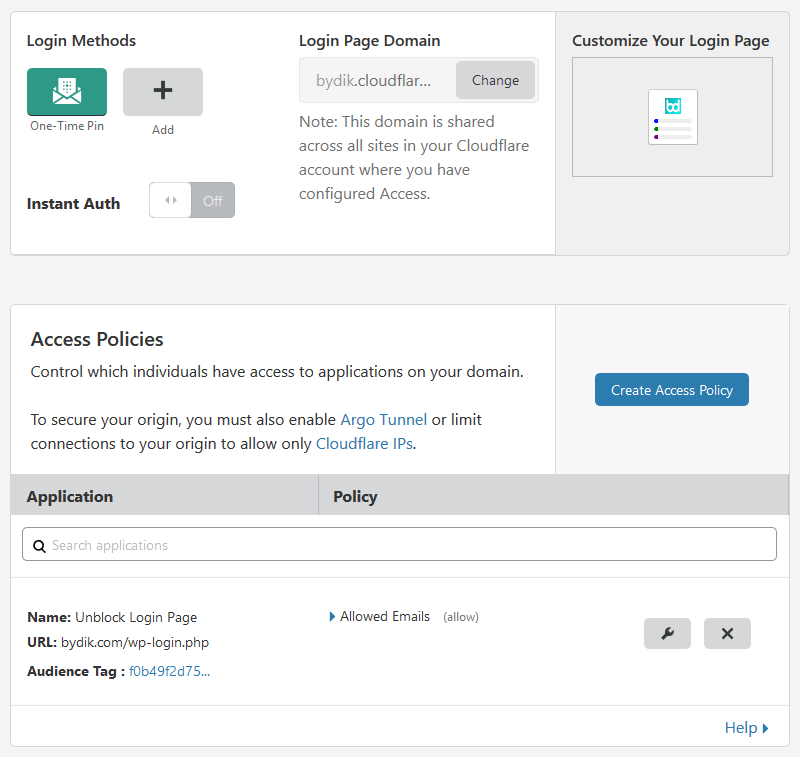 Cloudflare Access Settings Page