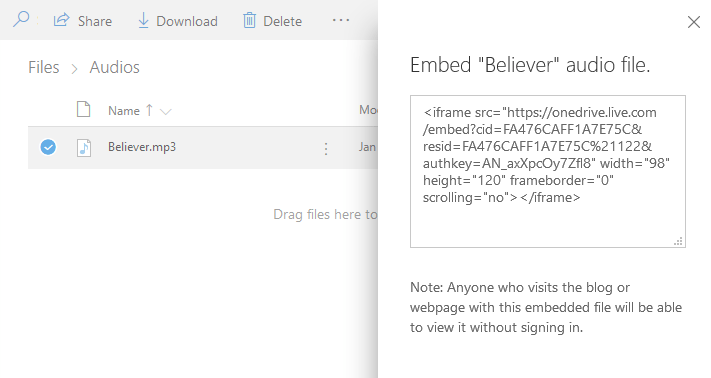 OneDrive Embed Link Generated