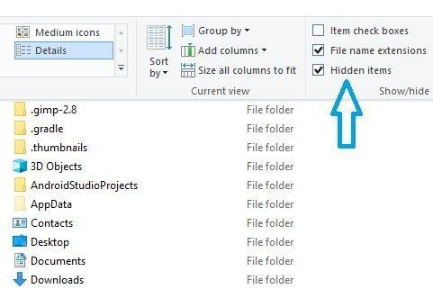 Visible hidden items Windows 10