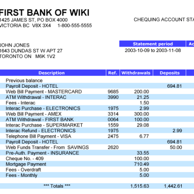 Sample Bank Statement for Verification