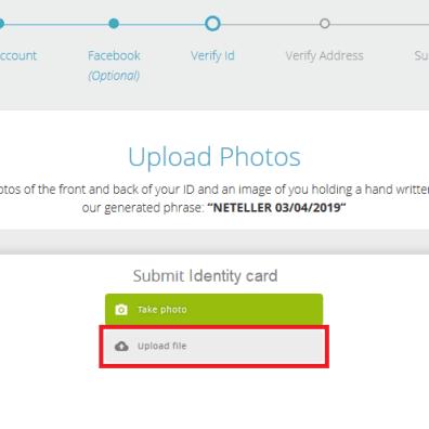 Neteller ID Verification Photo Upload
