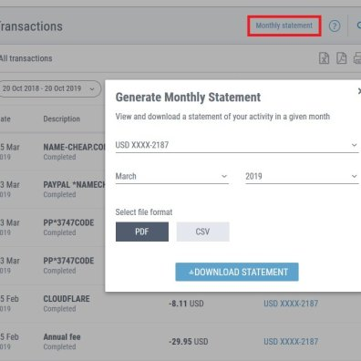 Payoneer Credit Card Statement Download