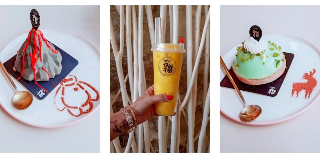 La troisième des meilleures adresses sucrées de Paris. Trois photos, un smoothie mangue et deux pâtisseries. L'une avec un dôme à la pomme verte et l'autre en forme de volcan en éruption.