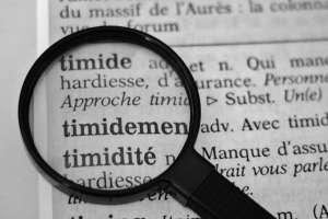 Les mots timide et timidité dans le dictionnaire