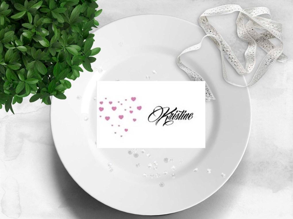 Rosa hjerter - bordkort