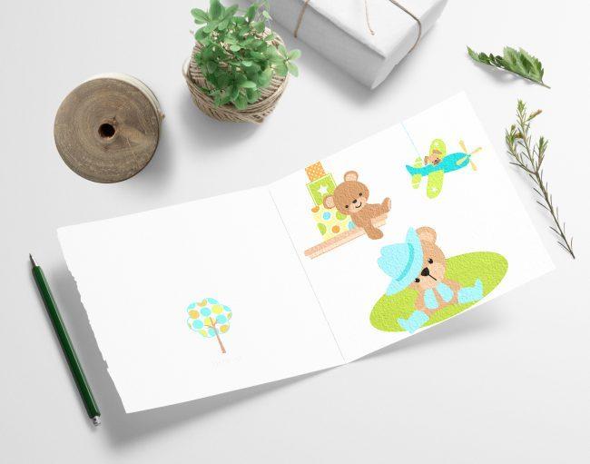 Baby og barnekort med de fineste farger - print ut selv