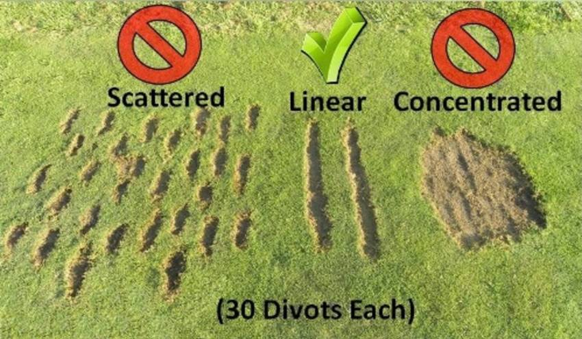Driving range divot patterns