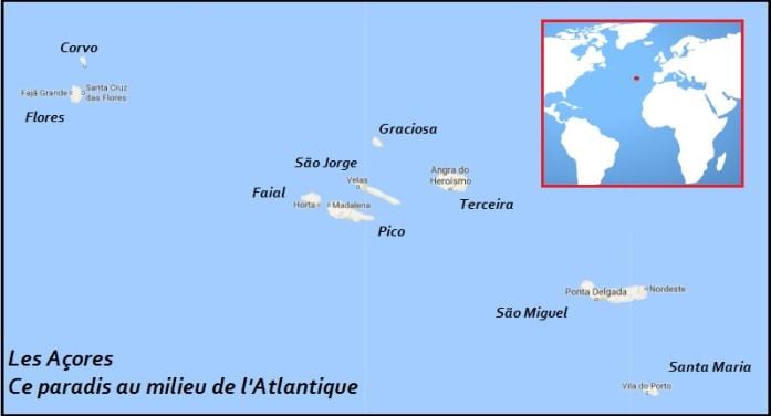 Açores - Iles - Pico - Faial - Terceira - Santa Maria - Flores - Corvo - São Jorge - São Miguel - Graciosa