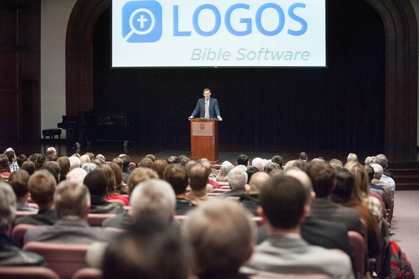 Mark Ward,Jr. talks about the Logos software. Photo by Dan Calnon 2016.