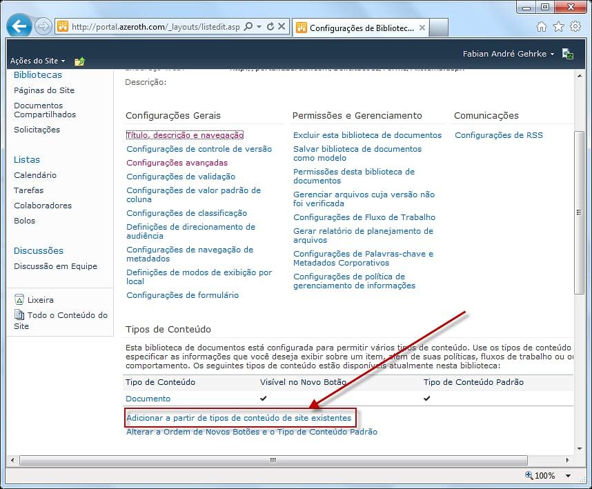 Como Utilizar Vários Templates de Documentos em Uma Biblioteca de Documentos (5/6)