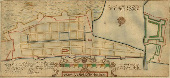 Detalj Jönköping 1657. Lantmäteriets historiska kartor.