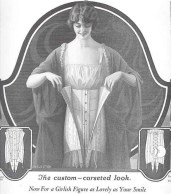 "Corset ad from 1923: creates that slim, ""girlish"" figure!"