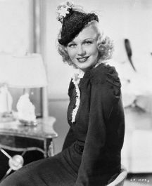 Ginger Rogers Wearing a Black Lace Hat