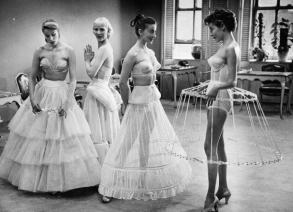 Examples of women's petticoats for evening gowns.