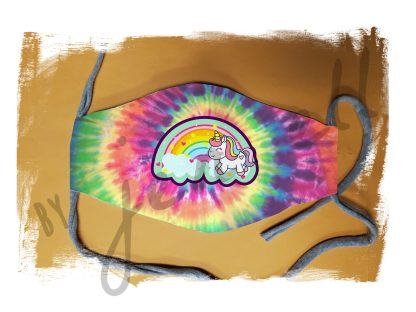 Tie Dye Rainbow Unicorn Face Mask