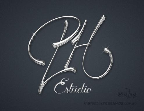 Logo design PH estudio prata silver logotipo logomarca metalico metal jlima