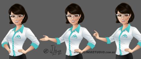 mascote personagem mulher moça garota secretaria design character mascot girl woman jlima ilustracao desenho 3d vetor colorido apresentando busto poses maos gestos