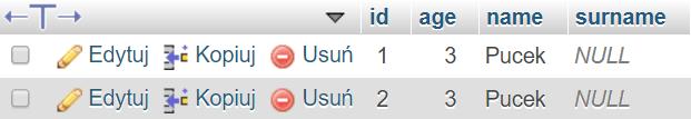 Dodanie nowej kolumny surname - dokonała się aktualizacja bazy danych, a istniejące rekordy uzyskały wartości NULL w nowej kolumnie.