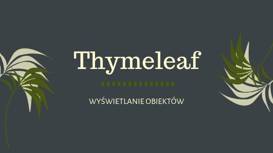 Kurs Thymeleaf – wyświetlanie obiektów