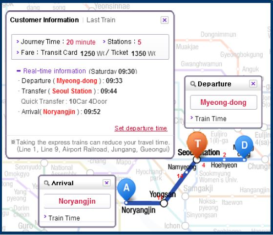 Take subway from Myeongdong Station -> Noryangjin Station