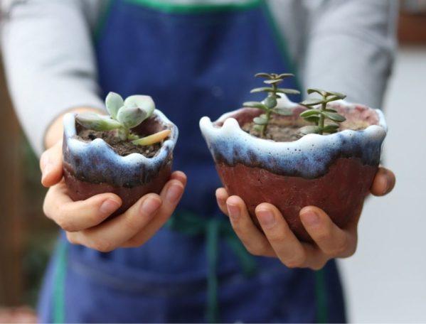 pots en céramique tenues dans les mains