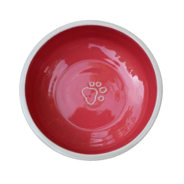 Gamelle rose framboise pour chat ou chien en céramique coloré avec traces de pattes