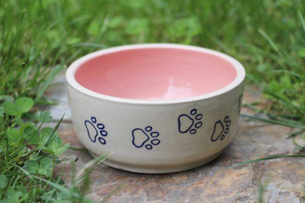 Gamelle rose pastel pour chat ou chien en céramique coloré avec traces de pattes
