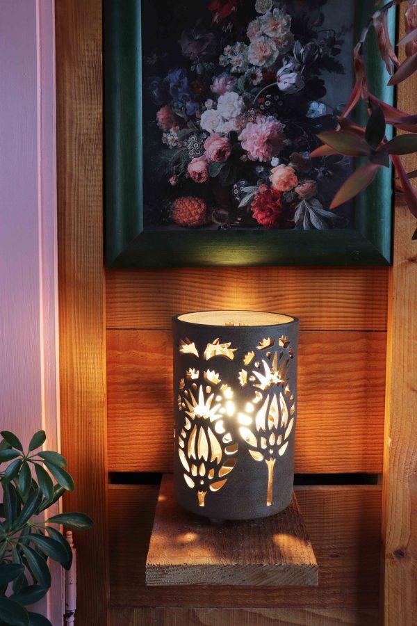lampe ajourée petit modèle Chardon brun