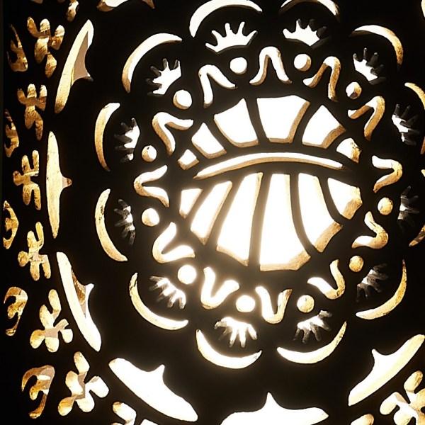 Photophore en céramique noire ajouré - Motif Rosace Fortuny - By Manet