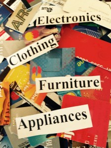 Credit Cards with words such as electronics, clothing, furniture and appliances