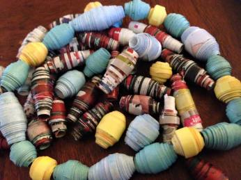 Paper beads craft, one of the four craft workshops I arranged.