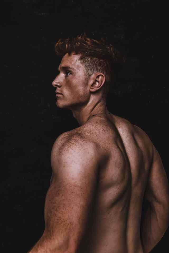 ollie Burton, ginger, ginger model, London models, redhead models, fit redhead, sexy gingers, sexy redheads, red hot 100, redhot100, fit boys, topless men, muscle back, ollie Burton, model, Oliver